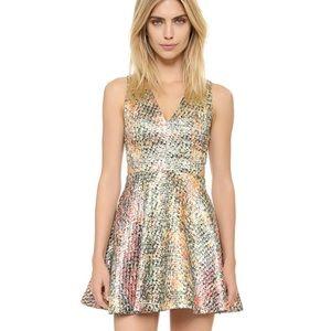 NEW alice + olivia Varita Fit Flare Metallic Dress